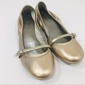 Gold Cole Haan Mary Jane Flats
